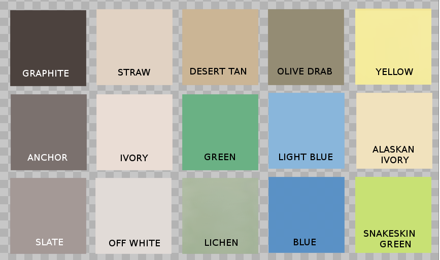 Chart of all the colors Speedcoat -49 comes in including Graphite, Anchor, Straw, Slate, Straw, Ivory, Off White, Desert Tan, Green, Lichen, Olive Drab, Light Blue, Blue, Yellow, Alaksan Ivory, and Snakeskin Green.
