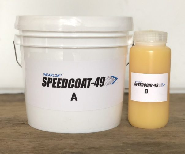 A gallon of Speedcoat-49 and its catalyst