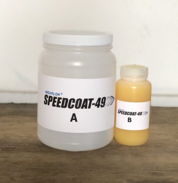 A Half-Gallon container of Speedcoat-49, with its catlayst